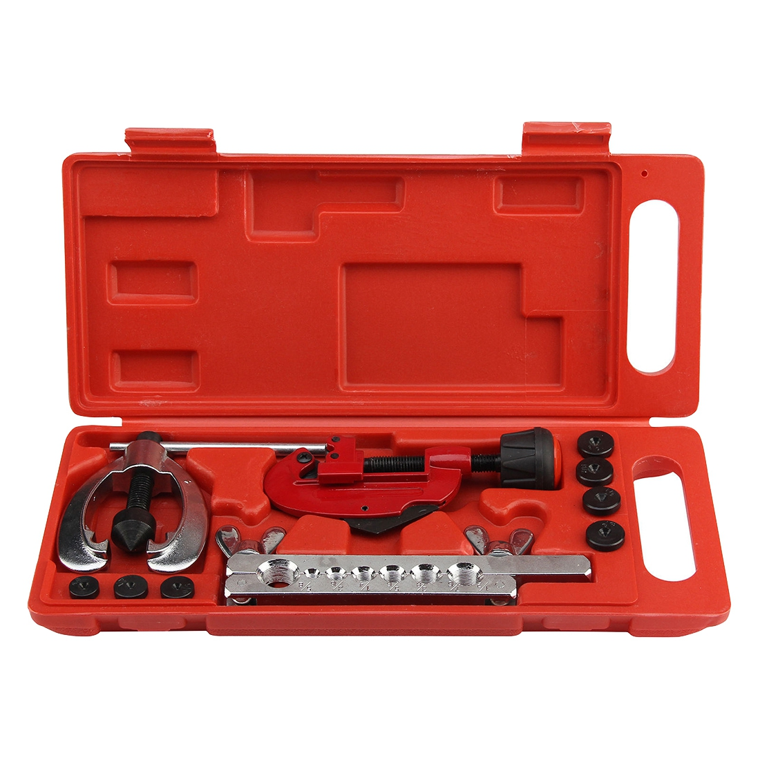 Image 5 - (Drop shipping) Copper Brake Fuel Pipe Repair Double Flaring Dies Tool Set Clamp Kit Tube Cutter For Cutting And Flaring CopperHand Tool Sets   -