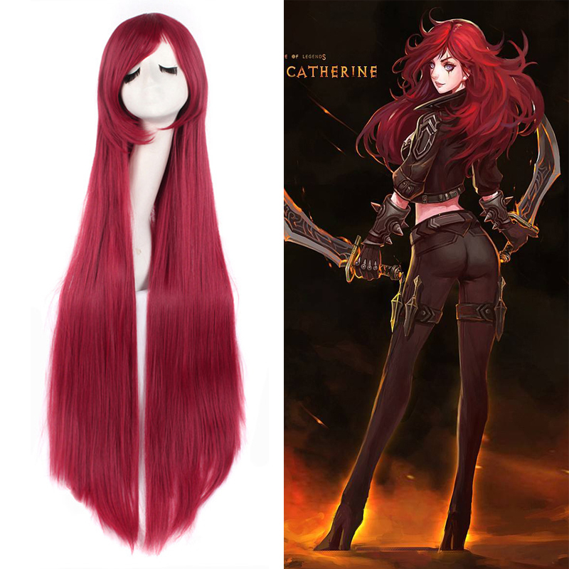 League of Legends Catherine Anime Game Costume Cosplay Wig Dark Red 100cm Straight Long Halloween Costumes Women Wig Free Cap