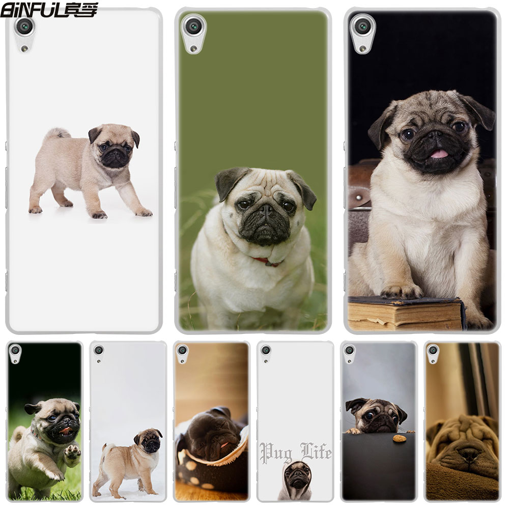 Binful собака мопс жизнь кожи жесткий белый чехол для телефона Sony Xperia Z1 Z2 Z3 Z4 Z5 M5 M4 aqua XA 1 E4 E5 C4 C5