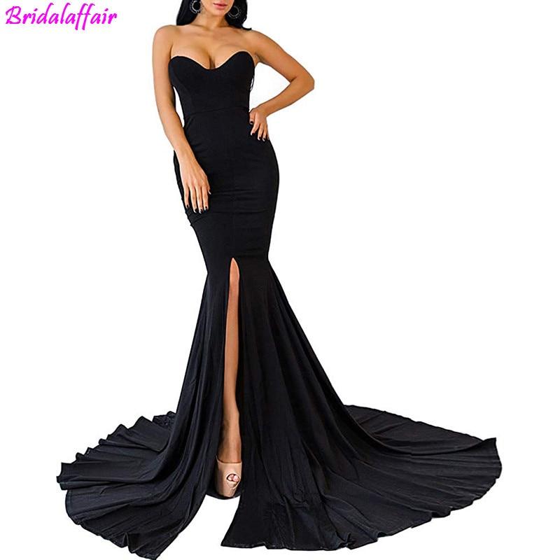 Womens material Long   Prom     Dresses   2019 Strapless Asymmetric Slit Front Evening   Dress   party formal   dress   vestidos de fiesta