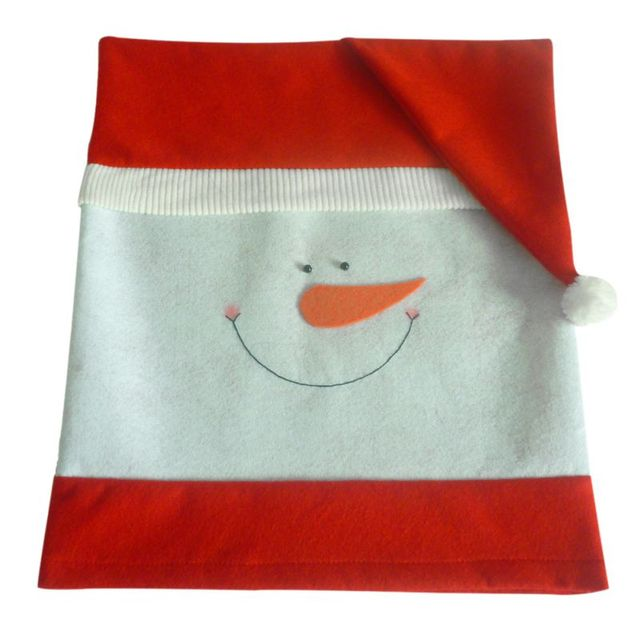 grey christmas chair covers camp high new cover xmas cute snowman for decor kid gift and