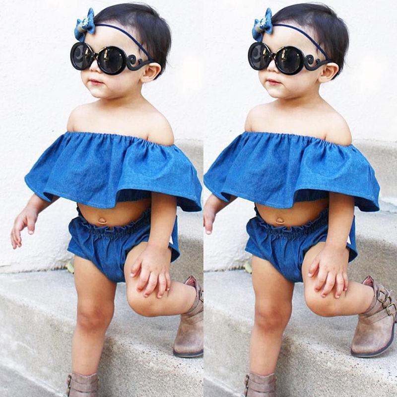 2Pcs Kids Baby Girls Summer Clothes Off Shoulder Vest Tank Top Shorts Pants