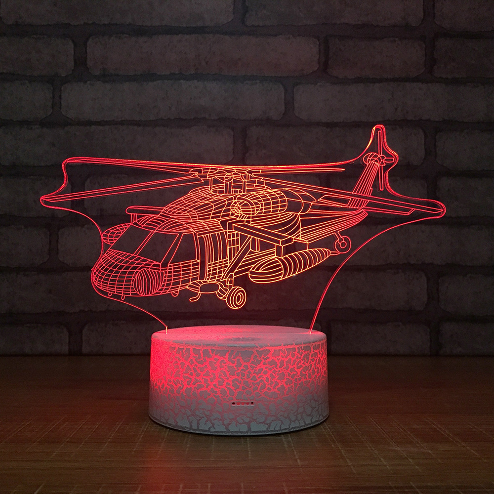 Helicopter 3D LED RGB Night Light 7 Color Change Desk Light Action Figures 112 Boys Girls Christmas Toys image