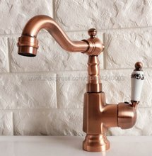 Basin Faucet Antique Red Copper Ceramic handle Bathroom Sink Swivel Mixer Tap Hot and Cold Water faucets Knf398 стоимость