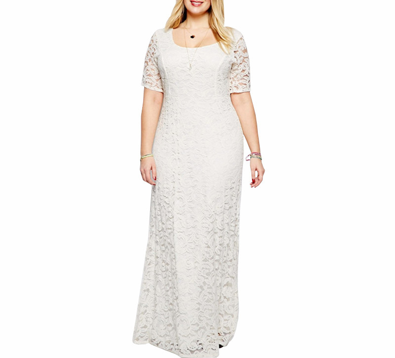 Elegant Loose Women O-neck Party <font><b>Plus</b></font> <font><b>Size</b></font> 7XL <font><b>8XL</b></font> 9XL Lace <font><b>Dress</b></font> Vintage Short Sleeve Casual Long Hollow <font><b>Dress</b></font> Vestidos image