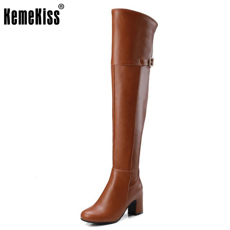 KemeKiss Size 33-44 Women Over Knee Boots Zipper Buckle High Heel Boots Winter Plush Fur Shoes Women's Warm Botas Footwears thigh high over the knee snow boots womens winter warm fur shoes women solid color casual waterproof non slip plush wedges botas