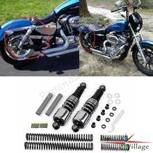 Papanda Steel Chrome Front Rear Shock Absorbers Lowering Slammer Kit for Harley Touring FLT FLHT FLTR Road King