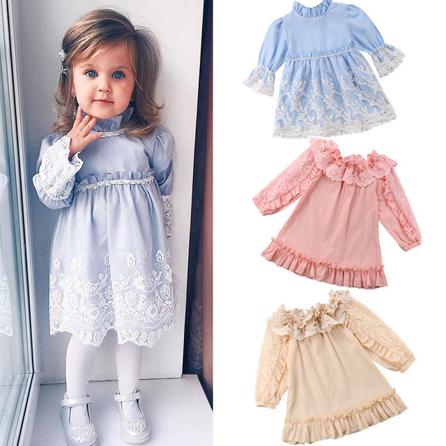 4679e7c64997 2018 Canis Cute Kids Baby Girls Summer Clothes Lace Dress Long Sleeve Party  Ruffle Lace Dress