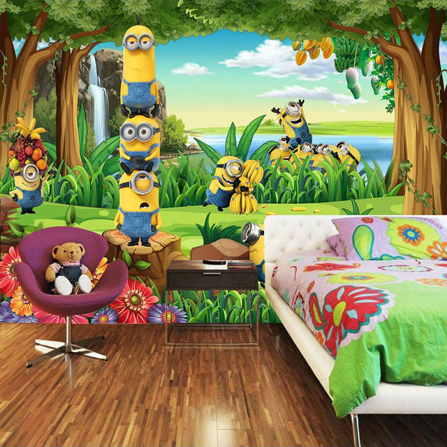 Funny minions wallpaper 3d custom photo wallpaper cartoon for Cartoon mural wallpaper