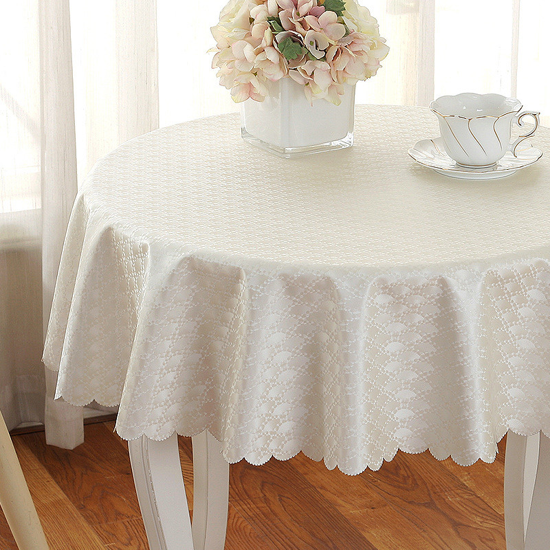 Round Table Cloth Top Damask Jacquard Tablecloth Waterproof Dining Table Cover Mat for Home Kitchen Decor 160cm