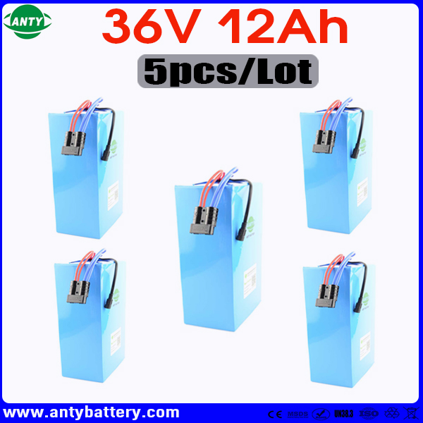 5pcs/Lot DIY Lithium Battery 36v 12ah 500w eBike Battery 36v with 5pcs 42v 2A Charger Electric Bike Battery 36v Free Shipping
