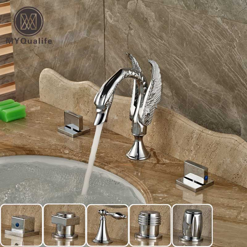 Polished Chrome Swan Style Widespread 3 Hole Basin Sink Faucet Dual Handle Deck Mount Lavatory Sink Mixer Tap chrome polished kitchen sink mixer tap dual spouts dual handle one hole kitchen faucet deck mount