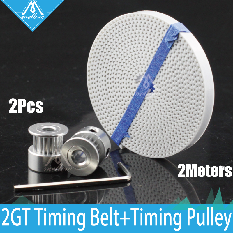 20 Teeth 2GT-6MM wheel Timing Pulley Bore 5mm and 2M PU with steel core GT2 width 6MM synchronous timing belt kit for 3D printer gt2 2pcs 20 teeth bore 5 8 mm pulley with 2m pu with steel gt2 6mm open timing belt 2gt timing belt 6mm width for 3d printer