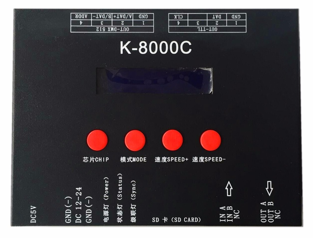 K-8000C ,SD card LED pixel controller;off-line;SPI signal output:1024pixes*8ports=8192pixels k 8000g sd card led pixel controller off line spi signal output controlling 8192 pixels can choose ic type by using the button