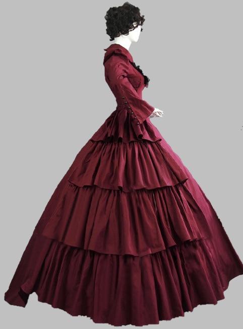 Luxury Gothic Burgundy 19th Century Noble Victorian Era Dress /Civil ...
