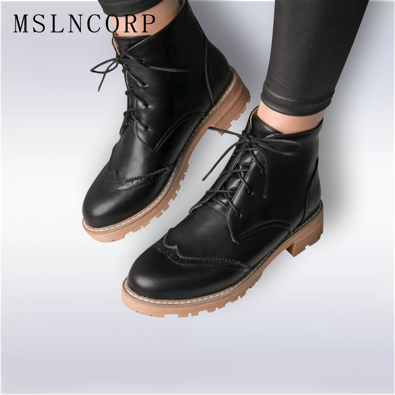 Plus Size 34-43 Autumn Winter Women Shoes Brogue Chelsea Botas Feminina Female Motorcycle Ankle Boots For Woman Lace-Up botas plus size 34 43 autumn and winter ankle boots flock women motorcycle brand quality square high heeled woman chelsea boots shoes