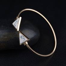 Punk Trendy Triangle  Bracelet Faux Marbleized Stone Cuff