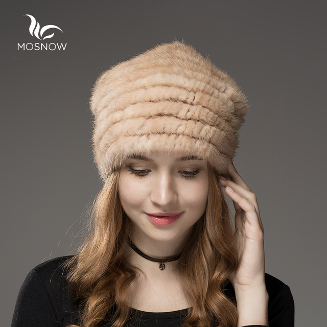 Mosnow 2016 100% Real Mink Fur Hats For Women With Fur Pom Poms Warm Knitted Vogue Brand Casual  Winter Hats Skullies Beanies