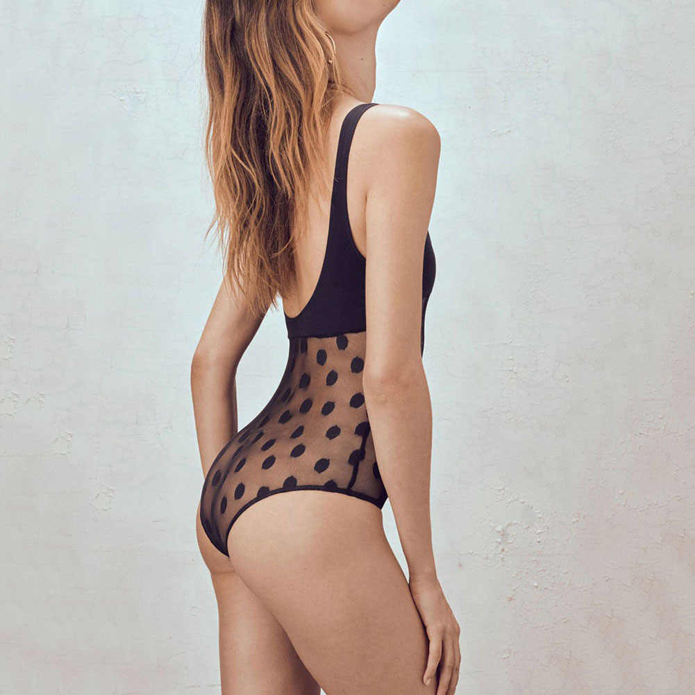 a39e53f10d5d5 See Through Sexy Swimsuit 2018 Women Summer One Piece Swimwear Patchwork  Polka Dot Bathing Suit Transparent