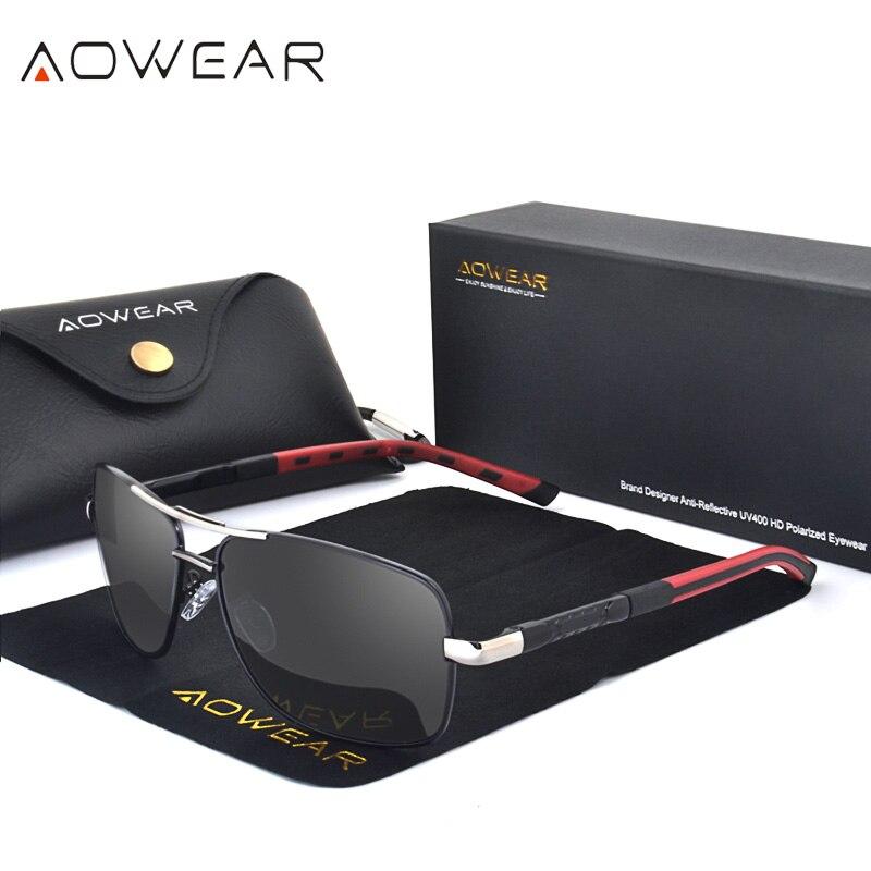 AOWEAR Rechteck Polarisierte Sonnenbrille Männer Aluminium Retro Spiegel Sonnenbrille für Männer Frauen 2018 Luxus Marke Shades Brille gafas