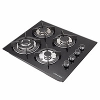 Brand New 24 Glass Built in Kitchen 4 Top Burner Gas Hob Cooktop Cooker 3.3KW