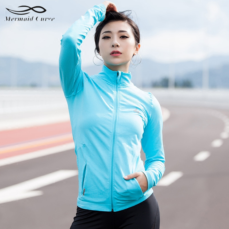 Running Running Jackets Forceful Mermaid Curve Womens Sports Slim Seamless Running Jacket Gym Fitness Workout Quick Dry Elastic Zippered Outdoor Sports Jacket 50% OFF