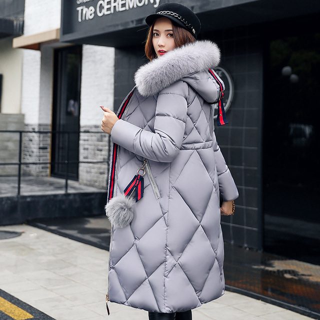 Big fur winter coat thickened parka women stitching slim long winter coat down cotton ladies down parka down jacket women 2018 1