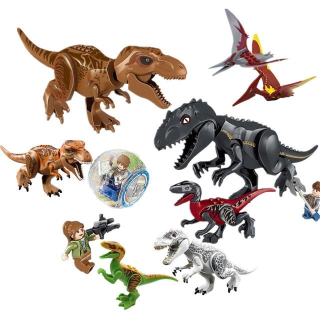 Super heroes jurassic world dinosaurs spinosaurus tyrannosaurus rex building block action toys - Lego dinosaurs spinosaurus ...