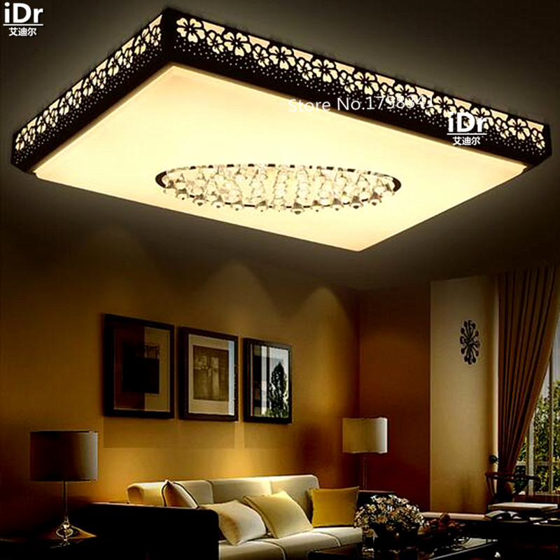 Led Crystal Lamp Rectangular Large Living Room Dining Den Bedroom Lighting Fixtures Ceiling Lights Rmy 0500 In From On