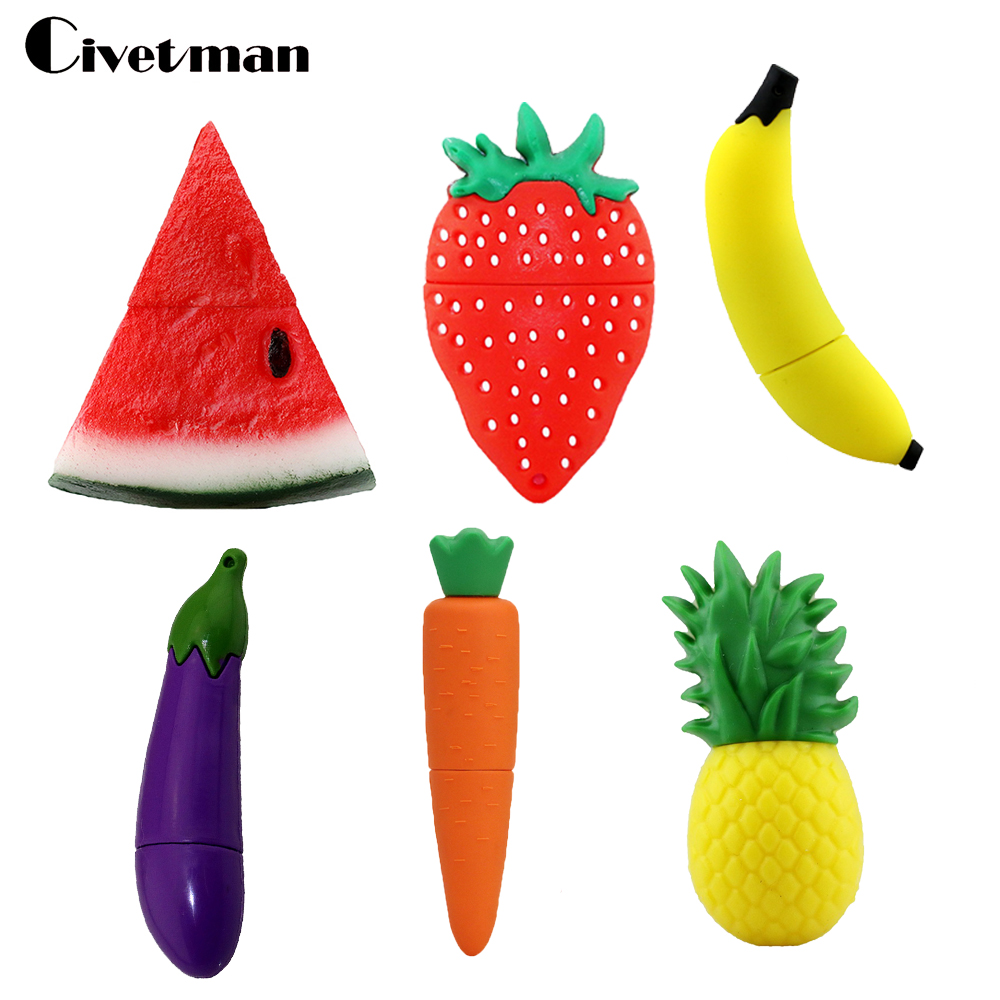 Pendrive Fruits USB Drive 4GB 8GB 16GB 32GB 64GB 128GB Cartoon Strawberry Watermelon USB Flash Memory Stick Flash Disk