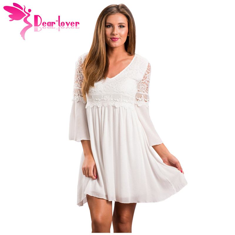 Dear Lover A Line Mini Dresses Women White Dreamy V-neck Lace Top Elegant Swing Dress Solid Loose Casual Vestidos Mujer LC220128