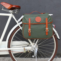 Tourbon City Cycling Vintage Bicycle Pannier Rear Rack Trunk Backseat Saddle Bags Bike Luggage Two Bags Waterproof Waxed Canvas