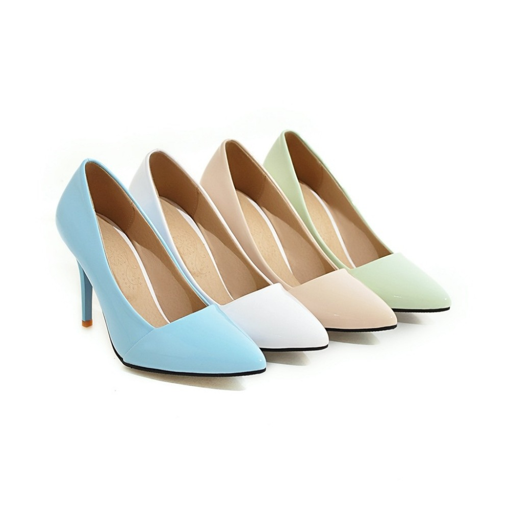 Asumer Solid shallow pu office lady work shoes big size 32-43 thin high heels shoes four seasons woman pumps elegant