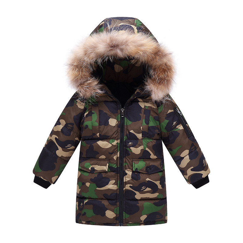 2018 new camouflage children warm jacket long thick boy winter coat down cotton kids winter jackets for boy outerwear fur collar boy winter long warm down jacket boy simple fashion warm down jacket boy big fur collar thick coat boy solid color coat