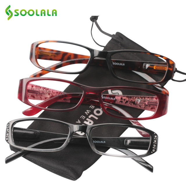 c496009d4cce SOOLALA Presbyopia Reading Glasses Women Men Spring Hinge Rhinestone Reading  Glasses +1.0 1.25 1.5 1.75