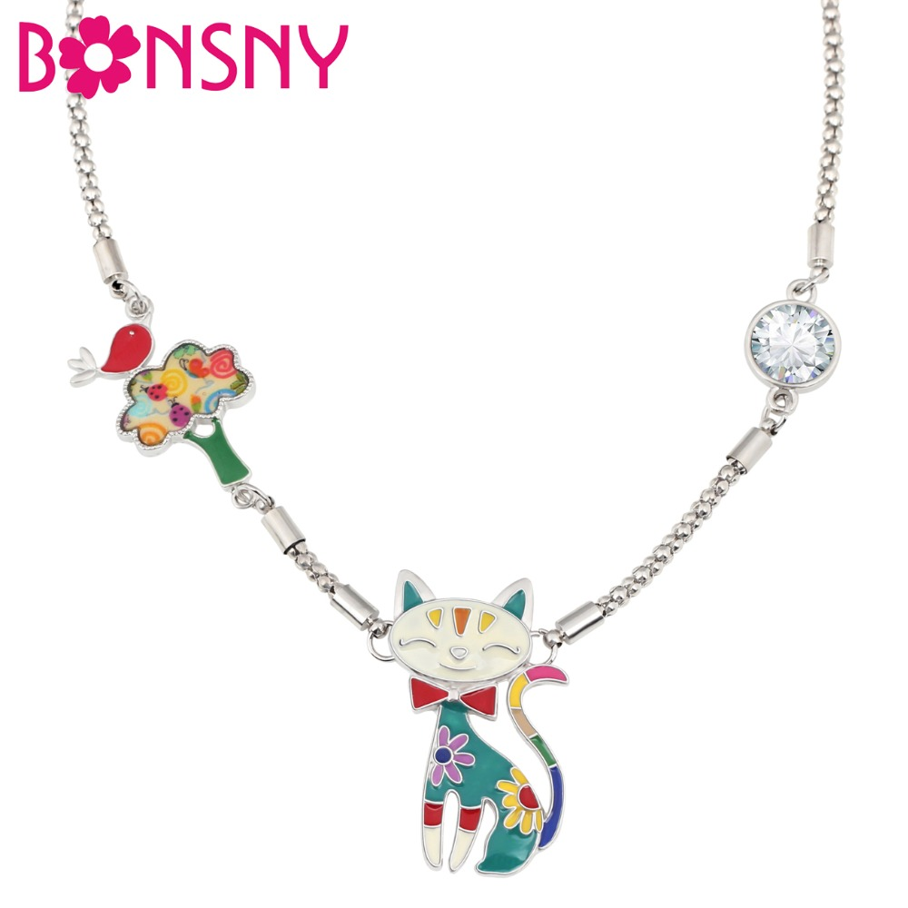 Bonsny Enamel Alloy Floral Smile Cat Tree Bird Rhinestone Necklace Pendant Novelty Cartoon Jewelry For Women Girls Teens Gift image