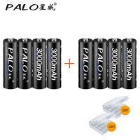 8pcs 100 PALO Original Battery 3000mAh NiMH AA Rechargeable Batteries High Quality Toys Cameras Flashlights And