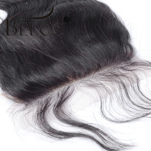 Image 2 - Silk Base Closure Body Wave Remy Peruvian Human Hair 4x4 Silk Closure Middle Part Free Part Bleached Knot Free Shipping Beeos