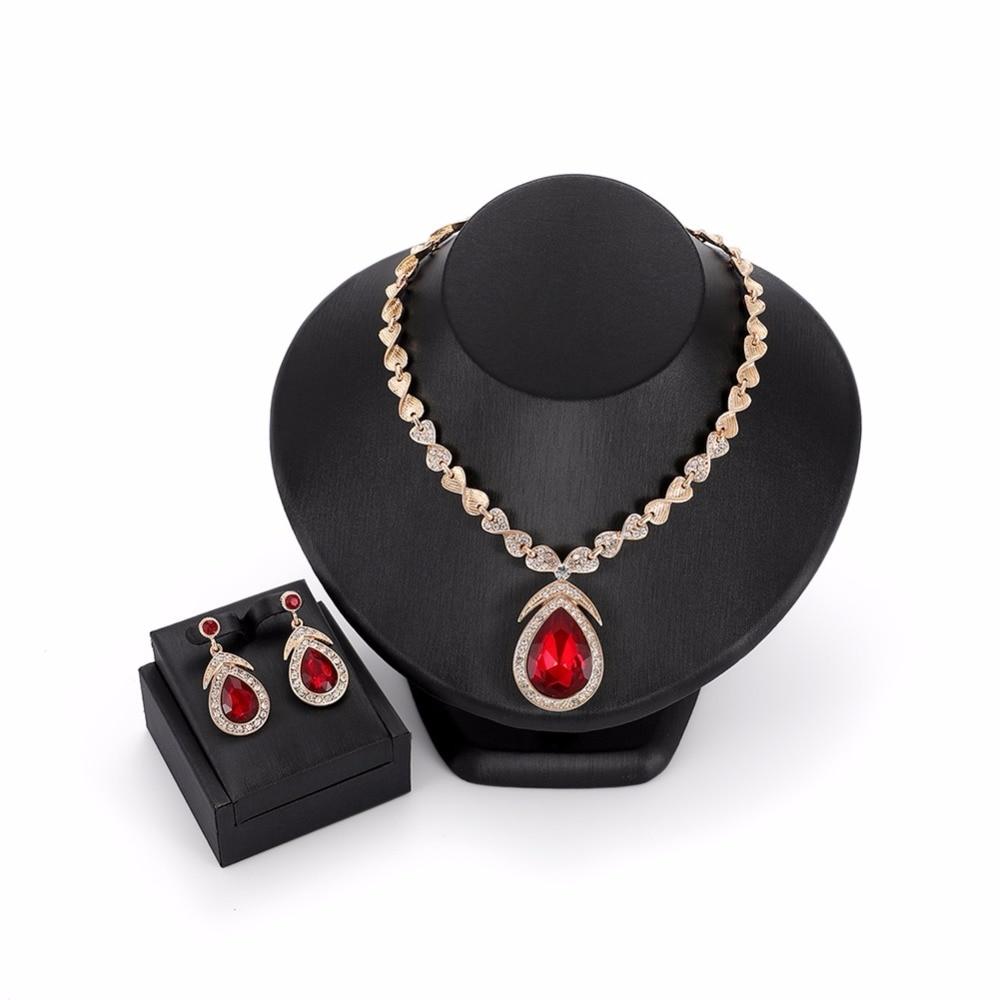 Drop Water Elegant Noble Crystal Jewelry Sets For Women Pendant Statement Necklace Dangle Earrings Kolczyki Wedding Accessories