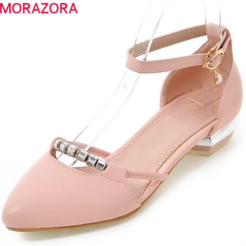 MORAZORA 2018 spring summer pumps women shoes with buckle crystal pointed toe square heel casual dress female shoes