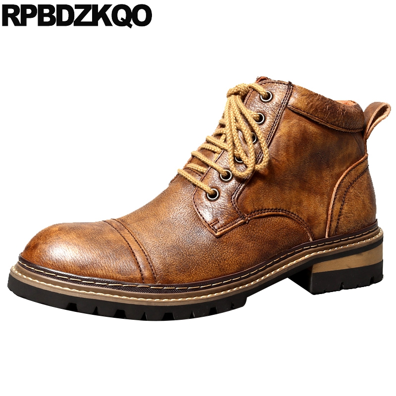 Brown Designer Booties Handmade Working Men Full Grain Leather Boots Safety Genuine Ankle High Top Chunky Lace Up Shoes WorkBrown Designer Booties Handmade Working Men Full Grain Leather Boots Safety Genuine Ankle High Top Chunky Lace Up Shoes Work
