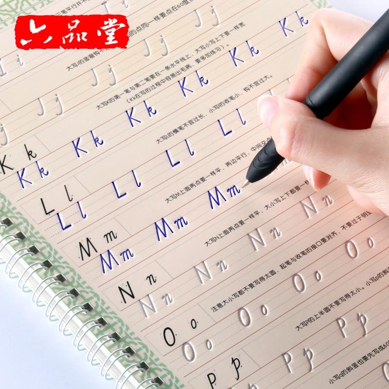 Italian Style Reusable English 3D Groove Calligraphy Copybook Liu Pin Tang Erasable Pen Learn Words Adults Art Writing Books