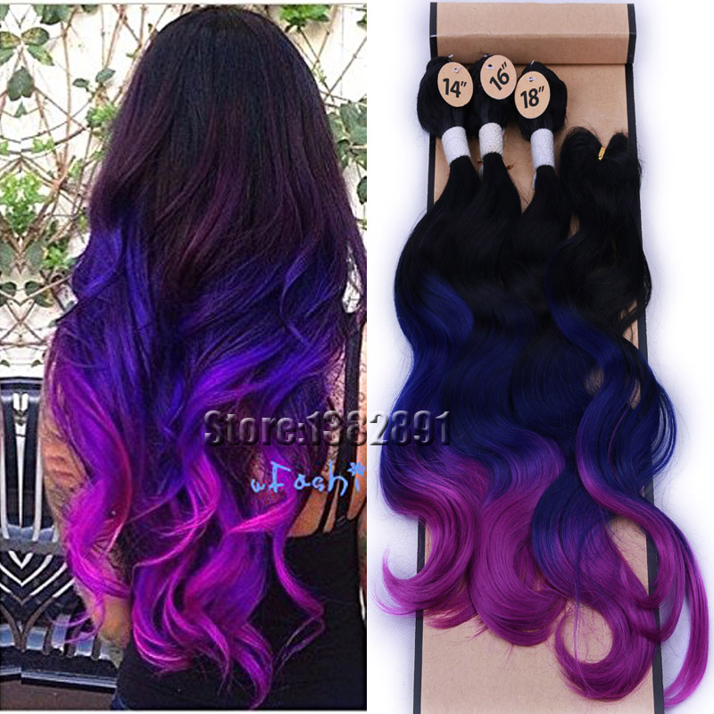 4piecelot Black Blue Purple Ombre Hair Extensions 3bundles With