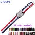 Alta qualidade pulseira de relógio de nylon para apple iwatch faixa de 38mm a 42mm com fivela de aço inoxidável e um adaptador livre grátis
