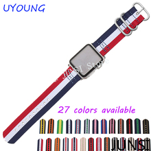 Haute qualité nylon bracelet Pour Apple Iwatch bande 38mm 42mm avec boucle en acier inoxydable et adaptateur livraison gratuite
