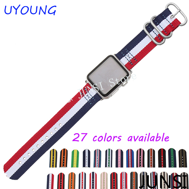 High quality nylon watch strap For Apple Iwatch band 38mm 42mm with stainless steel buckle and adapter free shipping