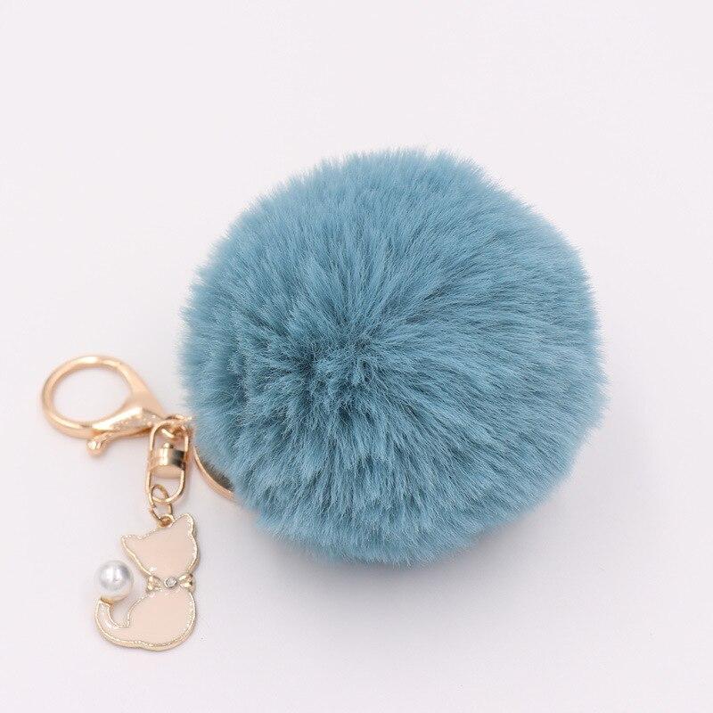 RE-Cat-Pendant-Keychain-Pompom-Rabbit-fur-ball-key-chain-fluffy-pompon-Keyring-Women-Key-Holder (2)