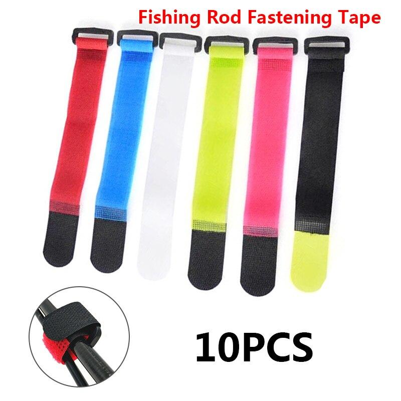 10pcs Fishing Rod Tie Holder Strap Suspenders Fastener Hook Loop Ties Belt