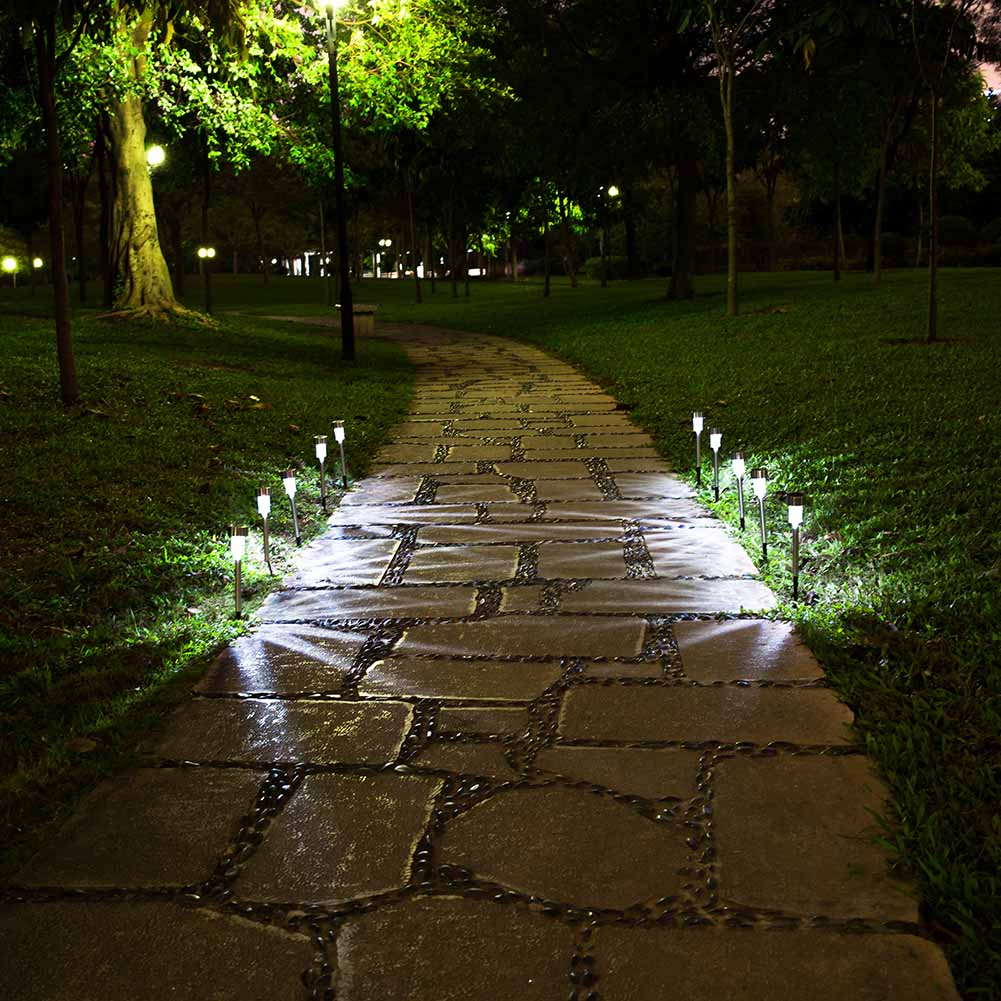 New Arrived 1pc /2pcs/5pcs/ 10 Pcs Outdoor Solar Powered Path LED Light Stainless Steel Lamp For Patio Yard Landscape Garden HR