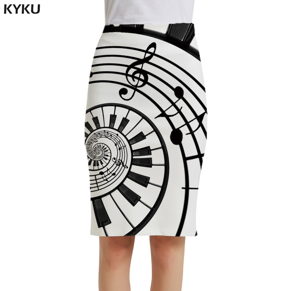 KYKU Brand Music Skirts Women Note Casual Black And White Pencil Sundresses 3d Print Skirt Ladies Skirts Womens Vintage Funny